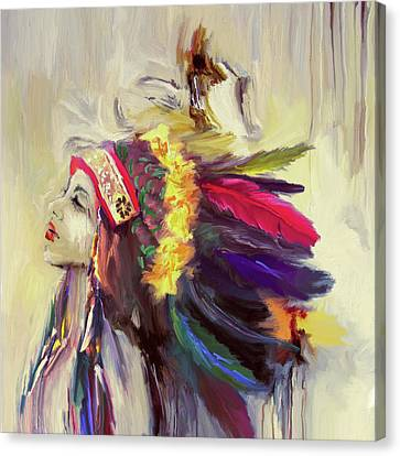 Native American 274 3 Canvas Print by Mawra Tahreem
