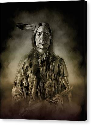 Native American Chief-scabby Bull 2 Canvas Print by Bekim Art