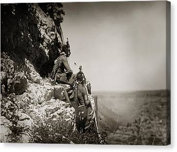 Native American Crow Men On Rock Ledge Canvas Print by The  Vault - Jennifer Rondinelli Reilly