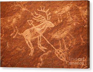 Native American Deer Shot With Arrow Petroglyph On Orange Sandstone Canvas Print by John Stephens