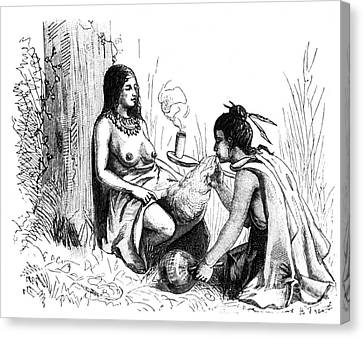 Native American Indian Midwifery, 1877 Canvas Print by Science Source