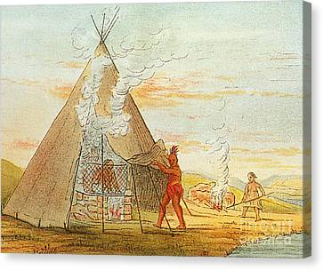 Native American Indian Sweat Lodge Canvas Print by Science Source