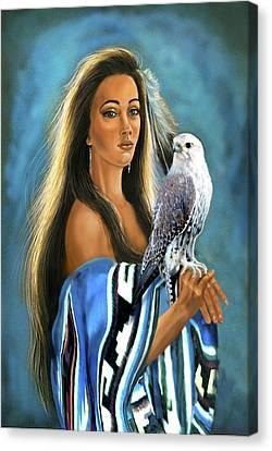 Native American Maiden With Falcon Canvas Print by Regina Femrite