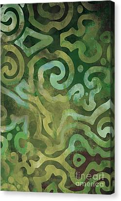 Native Elements In Green Canvas Print by Mindy Sommers