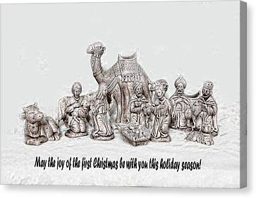 Nativity Scenne Sketch Canvas Print by Linda Phelps