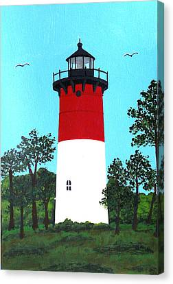 Nauset Lighthouse Tower Painting Canvas Print by Frederic Kohli