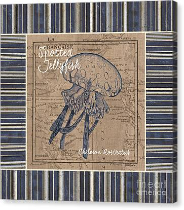 Nautical Stripes Jellyfish Canvas Print by Debbie DeWitt