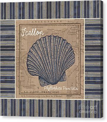Nautical Stripes Scallop Canvas Print by Debbie DeWitt
