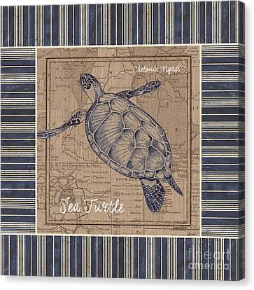 Nautical Stripes Sea Turtle Canvas Print by Debbie DeWitt