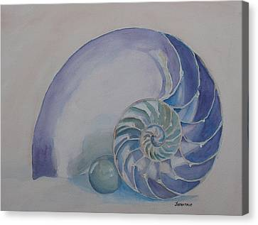 Nautilus With Marble Canvas Print by Jenny Armitage