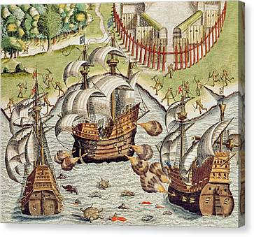 Naval Battle Between The Portuguese And French In The Seas Off The Potiguaran Territories Canvas Print by Theodore de Bry