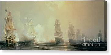 Naval Battle In Chesapeake Bay Canvas Print by Jean Antoine Theodore Gudin