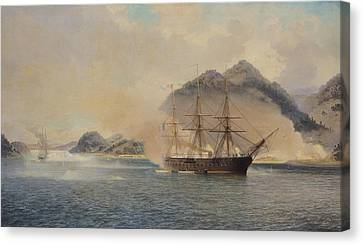 Naval Battle Of The Strait Of Shimonoseki Canvas Print by Jean Baptiste Henri Durand Brager