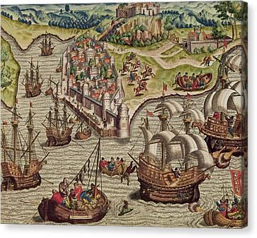 Naval Combat Canvas Print by Theodore de Bry