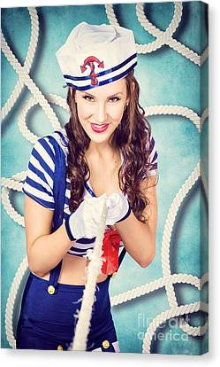 Navy Sailor Pinup Girl In Tug Of War Battle Canvas Print by Jorgo Photography - Wall Art Gallery