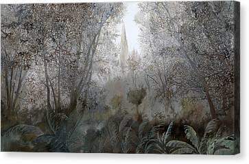 Nebbia Nel Bosco Canvas Print by Guido Borelli