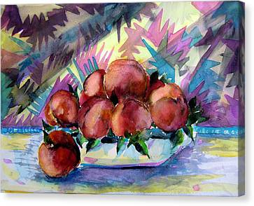 Nectarines Canvas Print by Mindy Newman