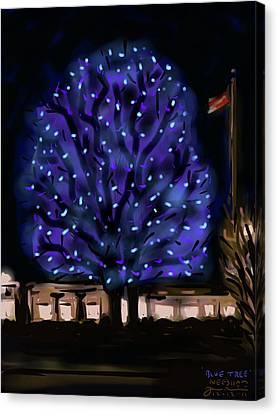 Needham's Blue Tree Canvas Print by Jean Pacheco Ravinski