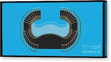 Negative Stair 45 Blue Background Architect Architecture Canvas Print by Pablo Franchi