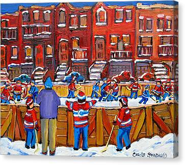 Neighborhood  Hockey Rink Canvas Print by Carole Spandau