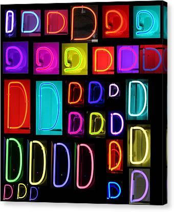 Neon Alphabet Series Letter D Canvas Print by Michael Ledray