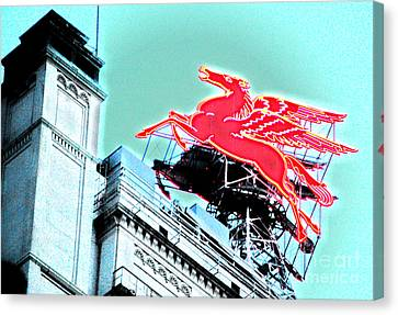 Neon Pegasus Atop Magnolia Building In Dallas Texas Canvas Print by Shawn O'Brien