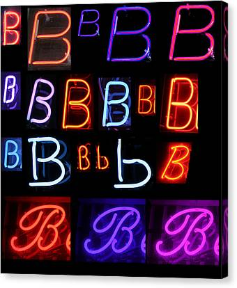 Neon Sign Series Featuring The Letter B  Canvas Print by Michael Ledray