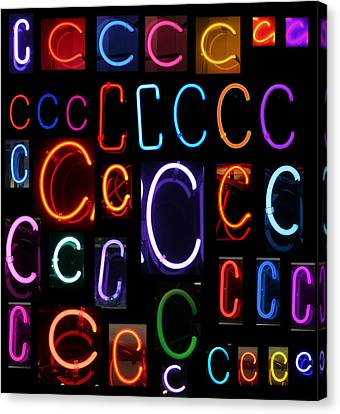 Neon Sign Series Featuring The Letter C Canvas Print by Michael Ledray