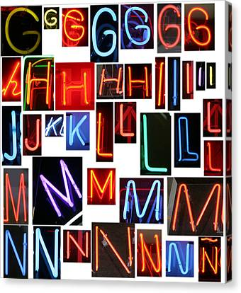 neon sign series G through N Canvas Print by Michael Ledray
