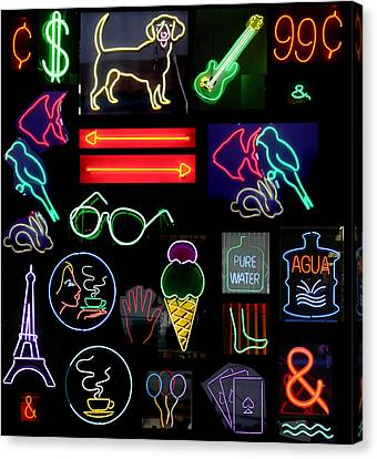 Neon Sign Series With Symbols Of Various Shapes And Colors Canvas Print by Michael Ledray