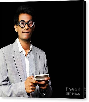 Nerd Playing Handheld Video Game Canvas Print by Jorgo Photography - Wall Art Gallery