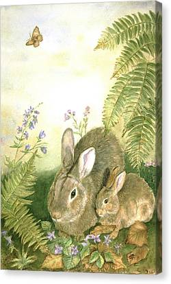 Nesting Bunnies Canvas Print by Patricia Pushaw