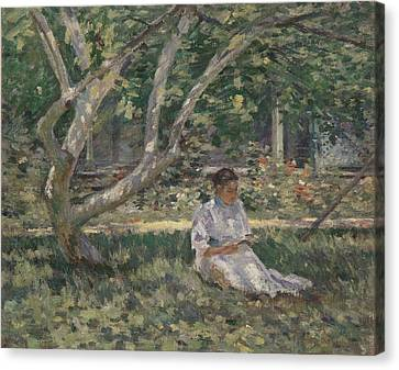 Nettie Reading Canvas Print by Theodore Robinson