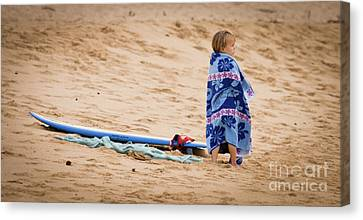Never Too Young To Surf Canvas Print by Denis Dore