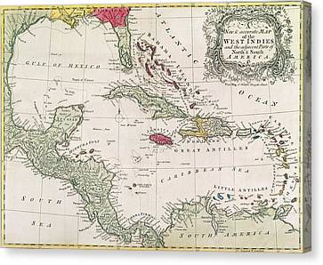 New And Accurate Map Of The West Indies Canvas Print by American School