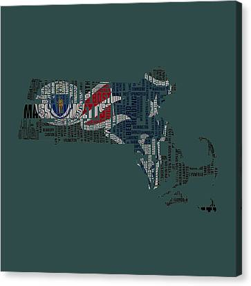 New England Patriots Typographic Map Canvas Print by Brian Reaves