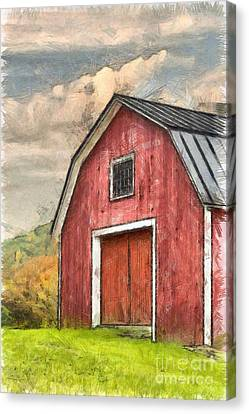 New England Red Barn Pencil Canvas Print by Edward Fielding