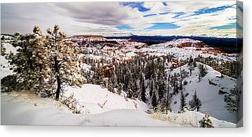 New Fallen Snow On Boat Mesa - Bryce Canyon Canvas Print by TL Mair