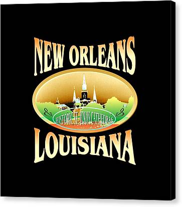 New Orleans Louisiana Tshirt Design Canvas Print by Art America Online Gallery