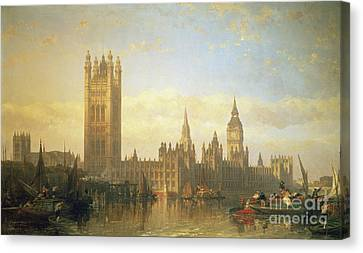 New Palace Of Westminster From The River Thames Canvas Print by David Roberts