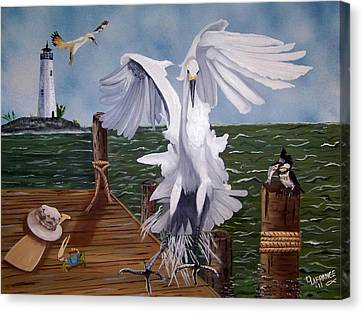 New Point Egret Canvas Print by Debbie LaFrance