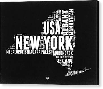 New York Black And White Word Cloud Map Canvas Print by Naxart Studio