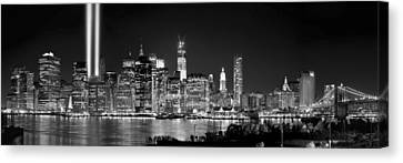 New York City Bw Tribute In Lights And Lower Manhattan At Night Black And White Nyc Canvas Print by Jon Holiday