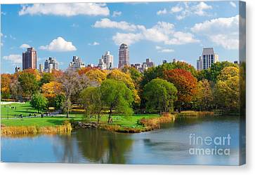 New York City Central Park Panorama View In Autumn With Manhattan Skyscrapers And Colorful Trees Ove Canvas Print by Unknow