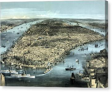 New York City Circa 1850 Canvas Print by War Is Hell Store