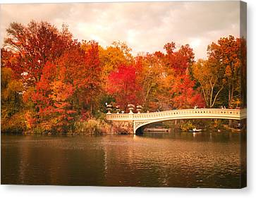 New York City In Autumn - Central Park Canvas Print by Vivienne Gucwa