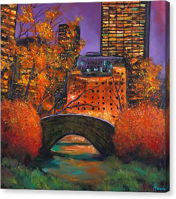 New York City Night Autumn Canvas Print by Johnathan Harris