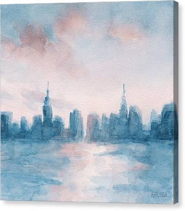 New York City Skyline Coral And Aqua Canvas Print by Beverly Brown Prints