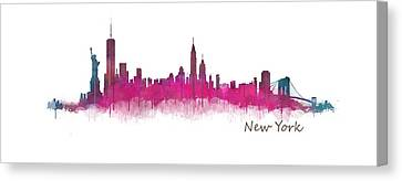 New York City Skyline Hq V05 Pink Violet Canvas Print by HQ Photo