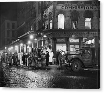 New York City Street At Night, Circa Canvas Print by Everett